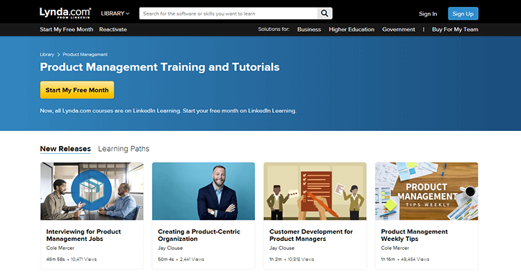 In-class product management course - Lynda, online