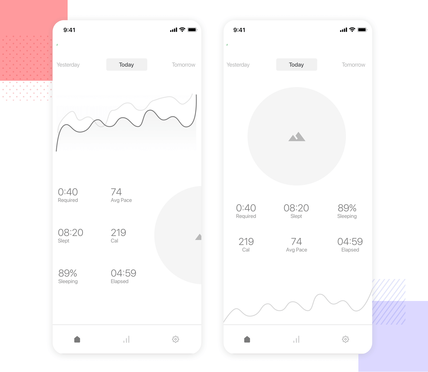 mobile app wireframe for banking and personal finance tools