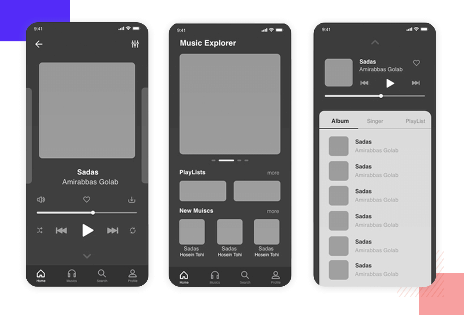 mobile app wireframe example - music explorer
