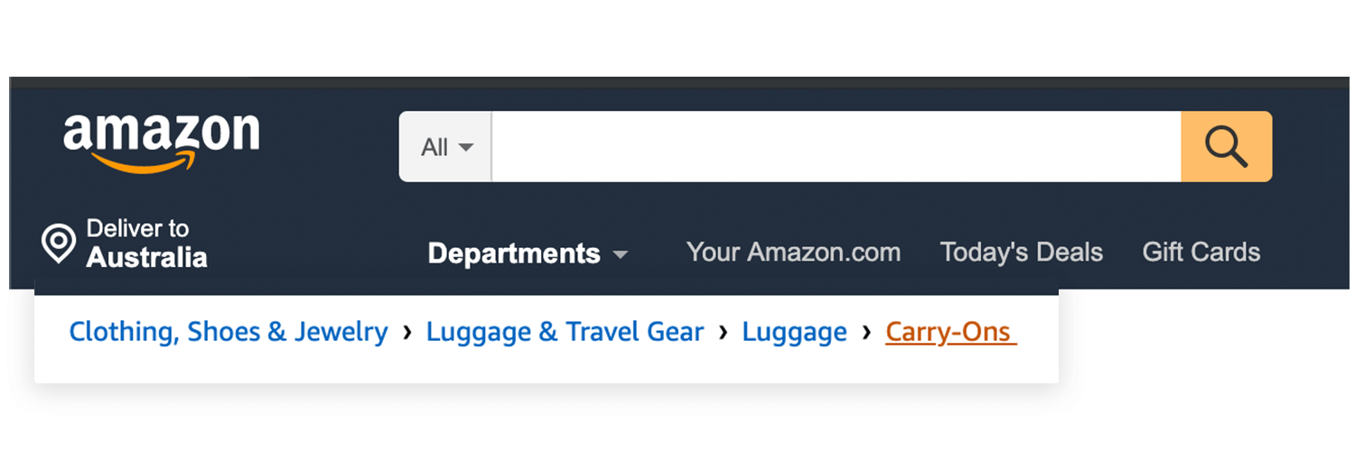 example of navigational menu in breadcrumbs - amazon