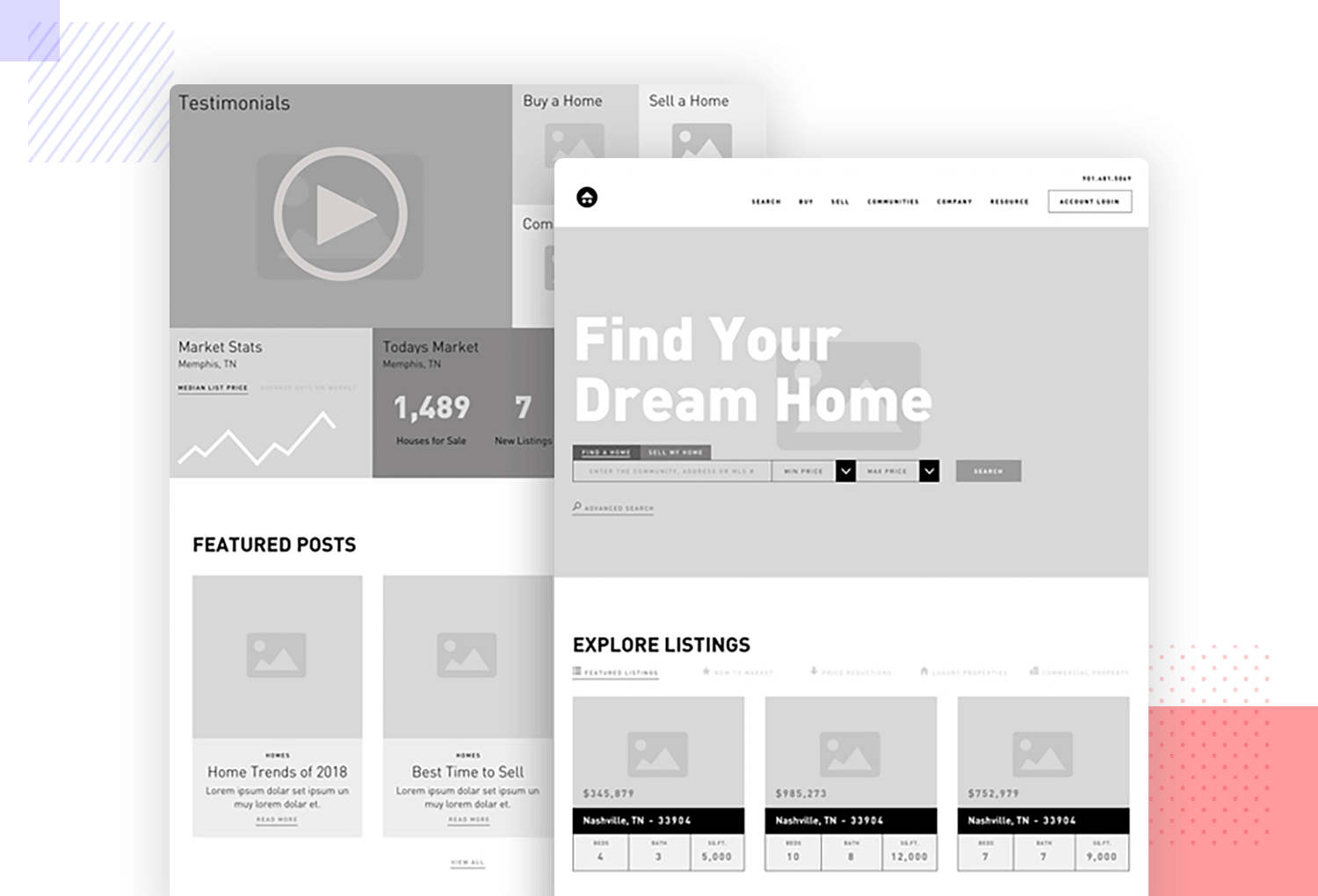 Wireframe example for real estate agencies