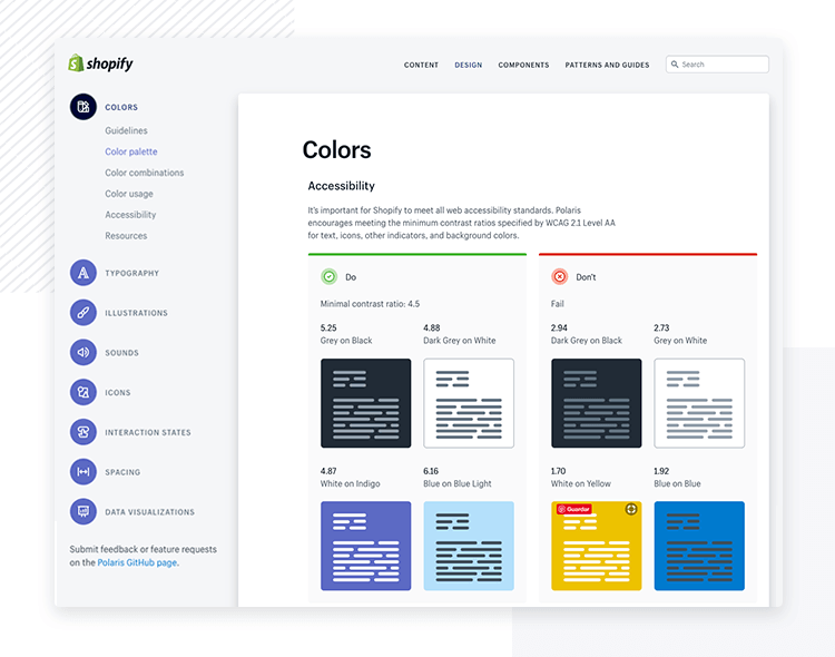 Shopify Polaris accessibility - Design System example - Justinmind