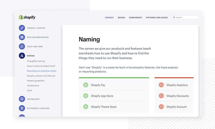 Shopify Polaris - Design System example - Justinmind