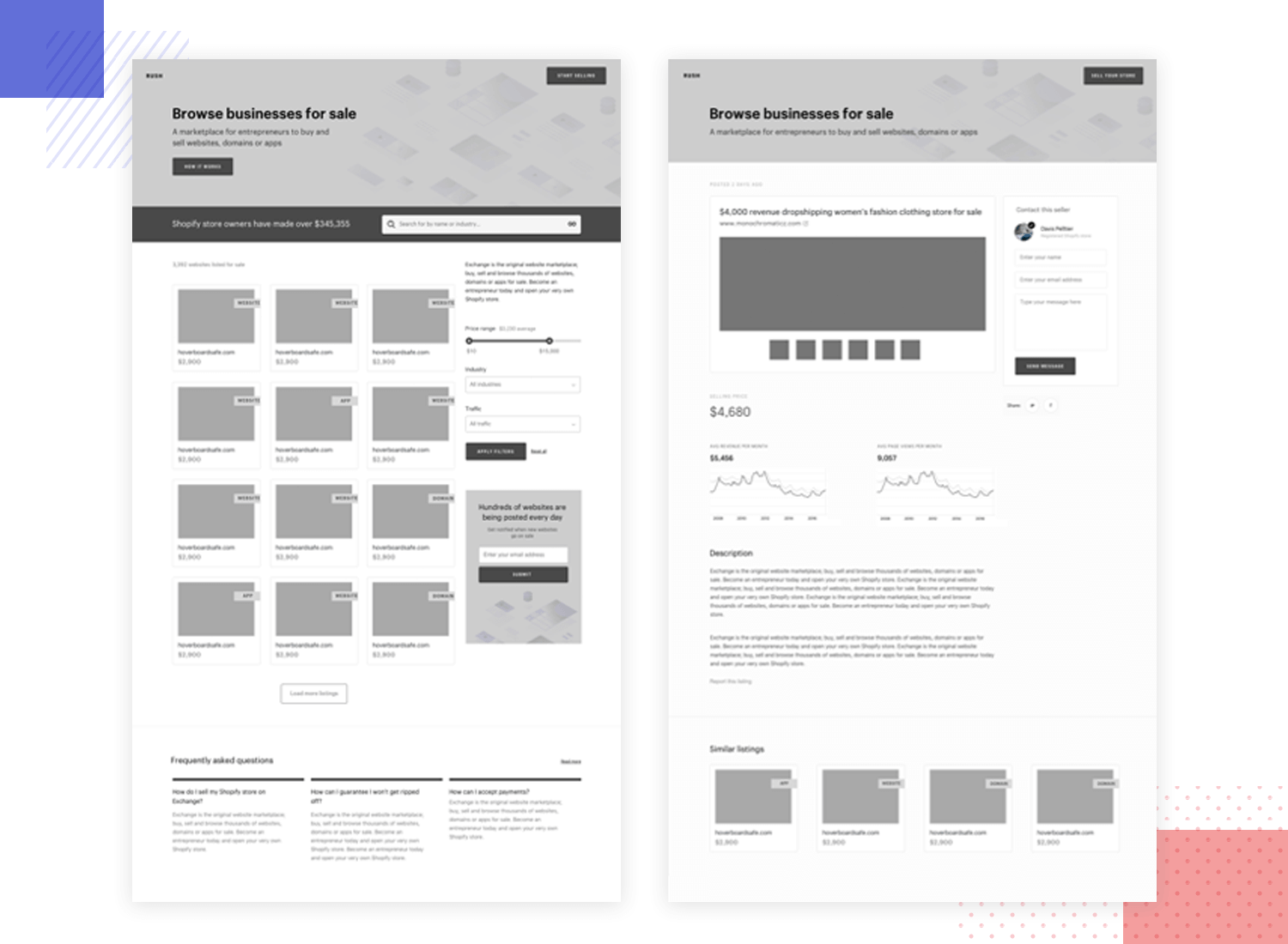 Example of wireframe design for shopify online store
