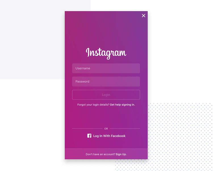 example of short form design - instagram log in screen