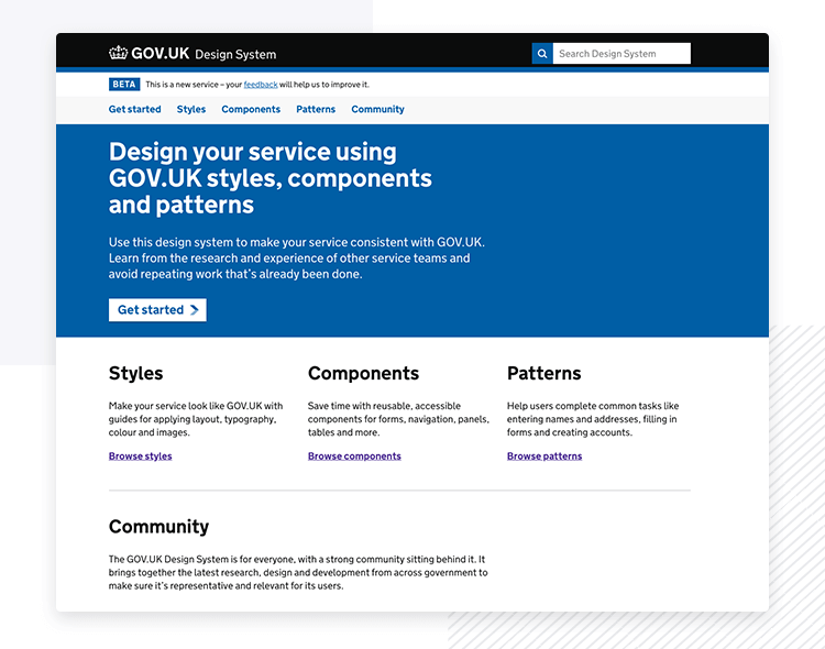 UK Government GOV.UK - Design System example - Justinmind