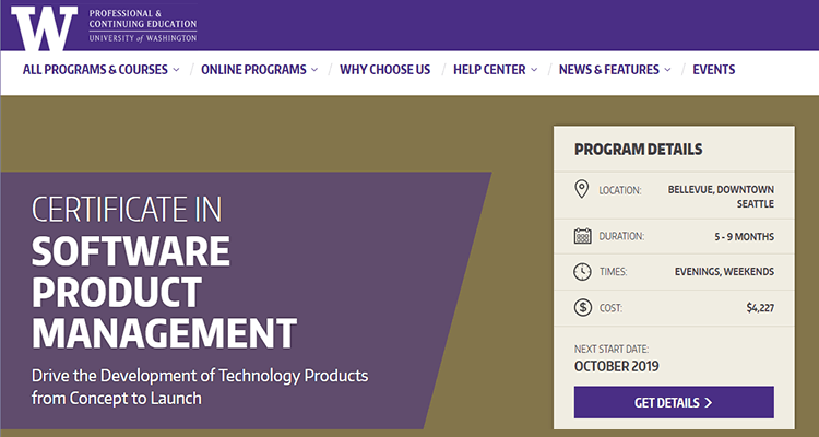 In-class product management course - University of Washington, US