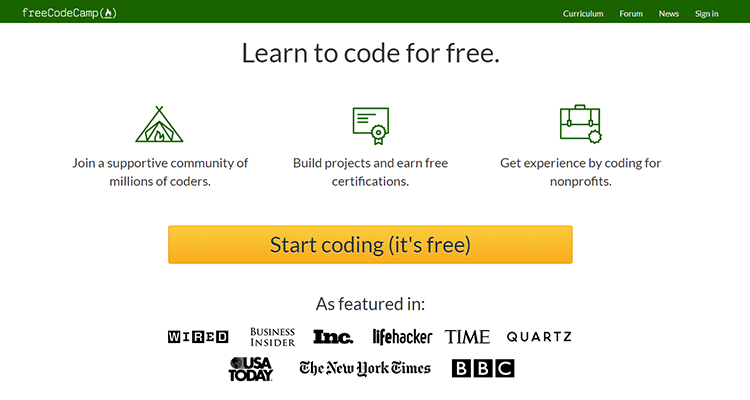 Online web development courses - Free Code Camp