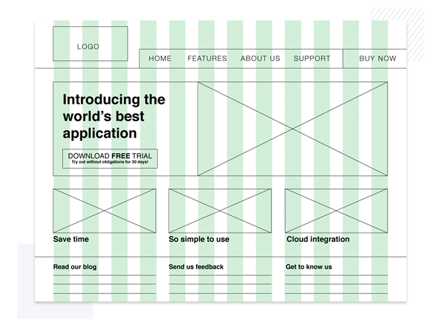 Showing of layout within wireframe design