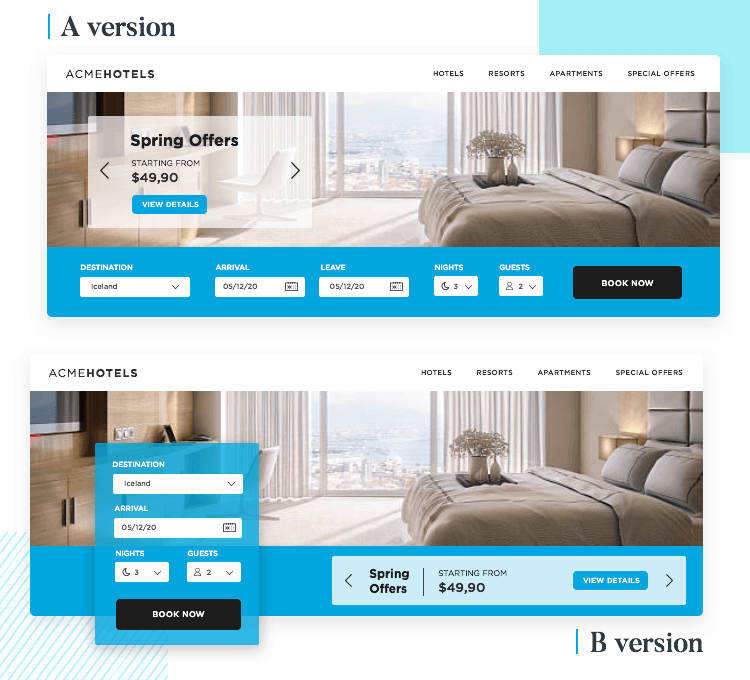 A/B testing for form design conversion