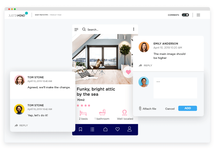 Enchance your team's collaboration with the Justinmind mockup tool