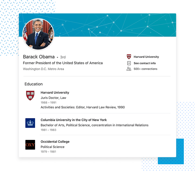 LinkedIn UX designer profiles - Education
