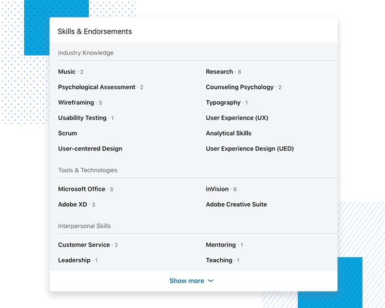 LinkedIn UX designer profiles - Skills & Endorsements
