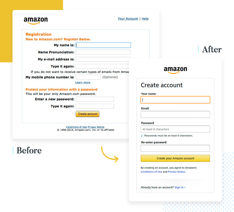 example of perception of complexity in form design - from amazon