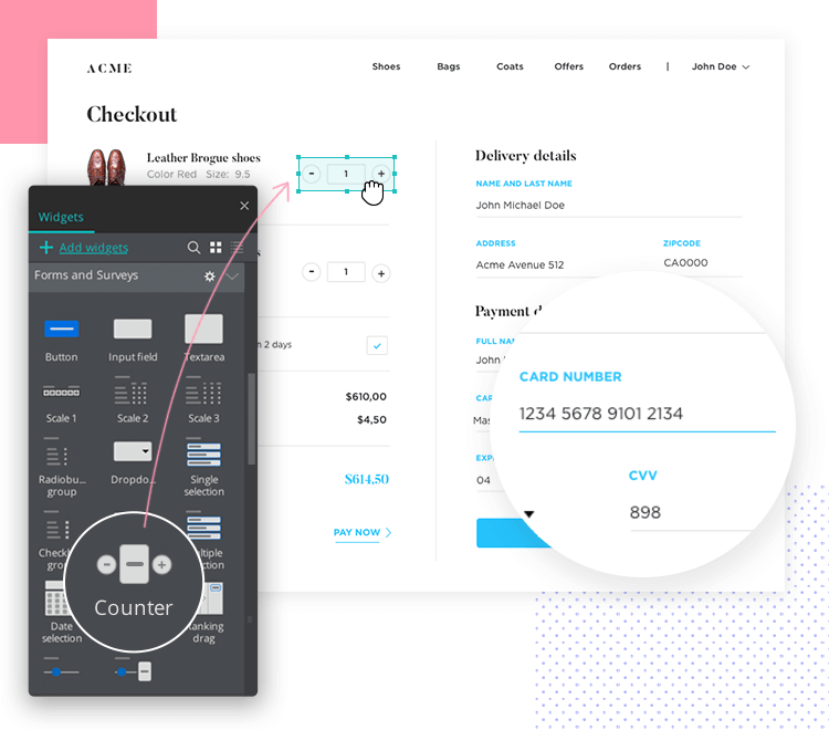Justinmind Forms and Surveys UI kit - counters with built-in interactions