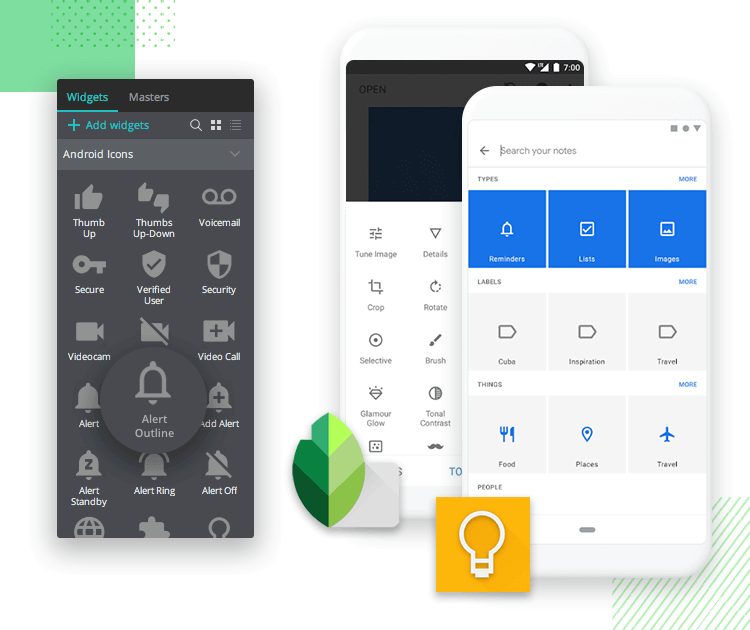 Android Icons UI kit - intuitive Android design - Justinmind