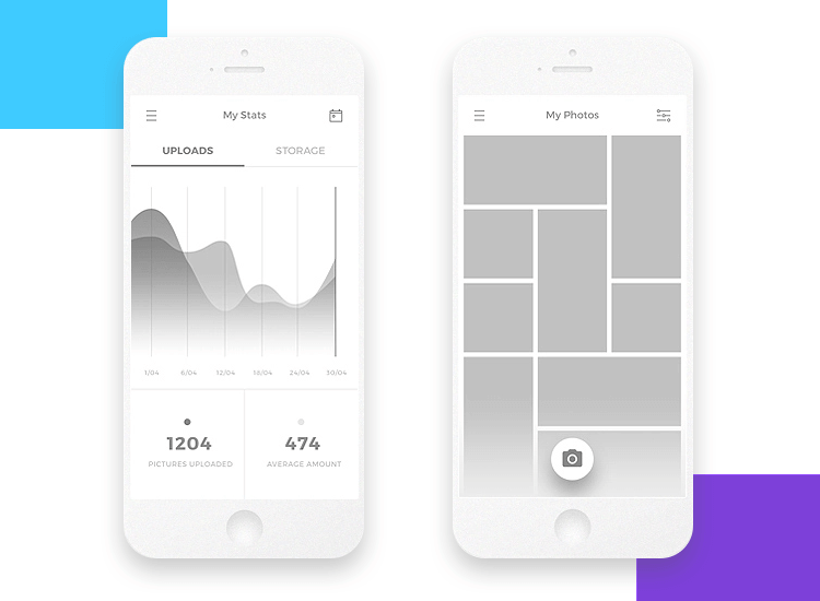 app wireframe template by matteo della chiesa