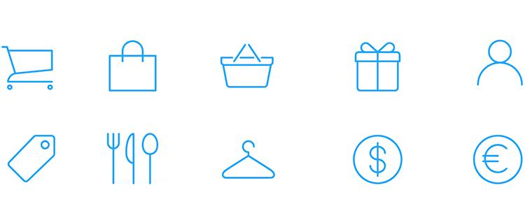 iOS Icons UI kit - icons for eCommerce