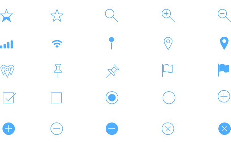 iOS Icons UI kit - reflects the latest Human Interaction trends