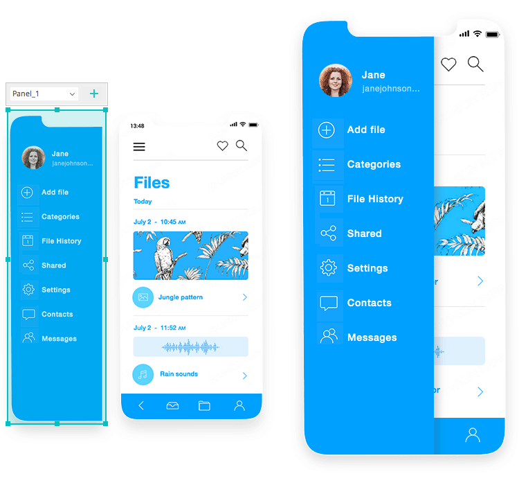 iOS Icons UI kit - how to create a slide menu
