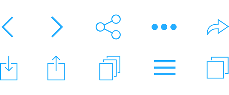 iOS Icons UI kit - icons for web and app browsing