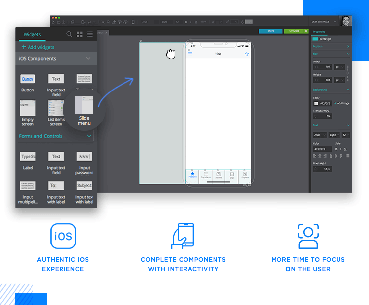 Justinmind's iOS UI kit - pre-designed, interactive slide menu available