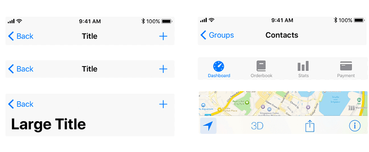 examples of navigation bars in ios ui design