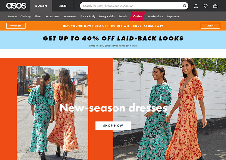 ecommerce website design with lots of content