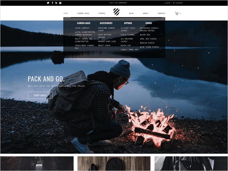 ecommerce website design for navigation bar