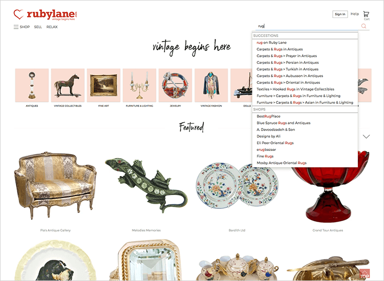 ecommerce website designs for search bar