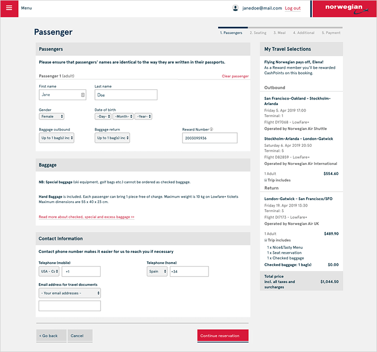 example of smart form ui design by norwegian