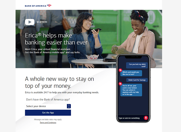 Banking app design patterns and examples - BOA uses a virtual assistant called Erica