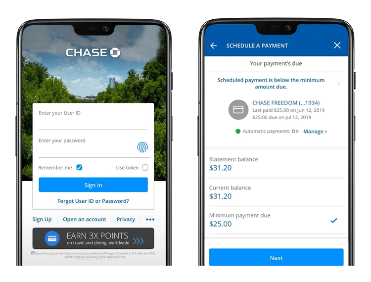 Banking app design patterns and examples - Chase uses a combination of vertical scrolling and progressive disclosure
