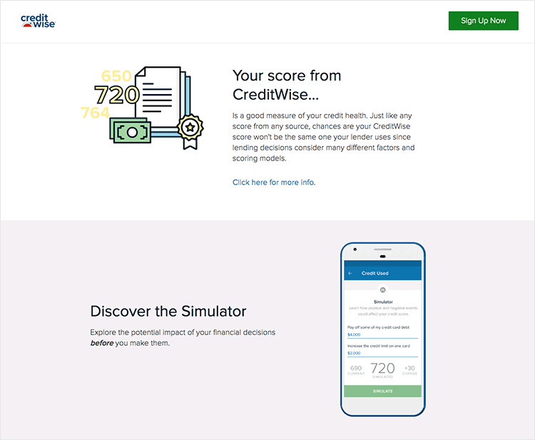 Banking app design patterns and examples - CreditWise sends useful notifications about credit score updates