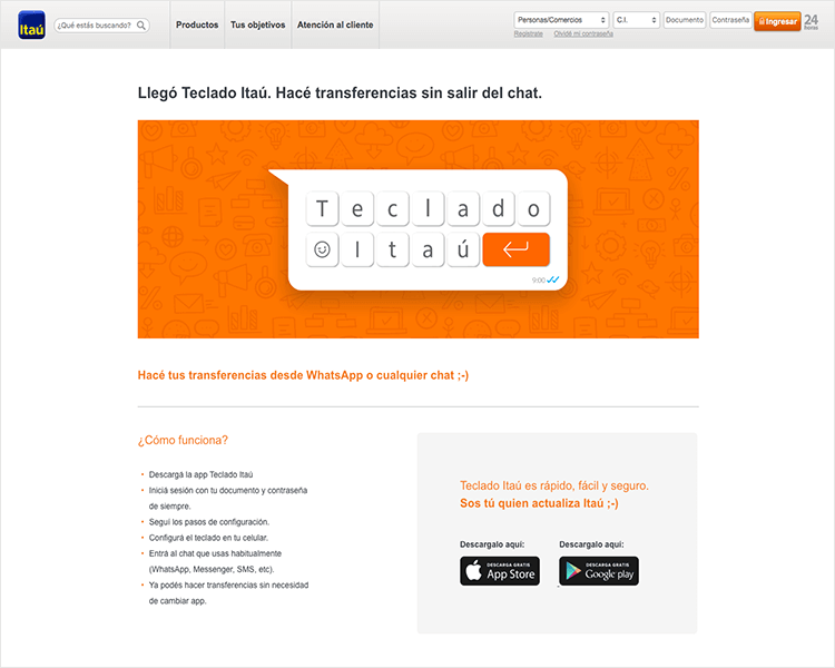 Banking app design patterns and examples - Itaú provides a keyboard to send transfers while in WhatsApp