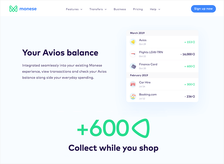Banking app design patterns and examples - Monese uses Avios points as a gamification feature