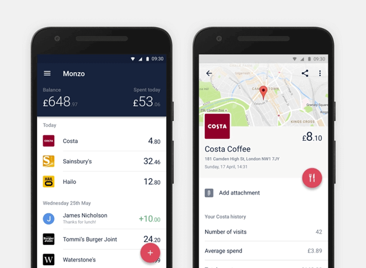 Banking app design patterns and examples - Monzo uses apps to display payment notifications