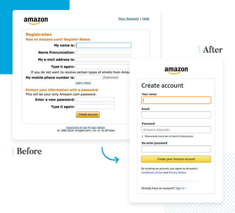 short form ui design by amazon