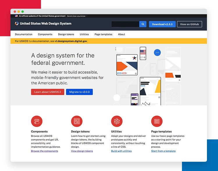 Justinmind US Web Design Standards UI kit - federal design system