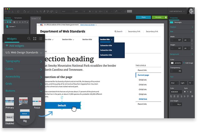 Justinmind US Web Design Standards UI kit - easily design a homepage