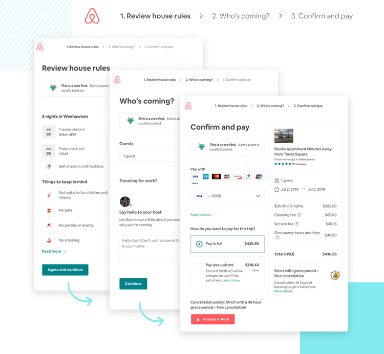 example of good form ui design by airbnb