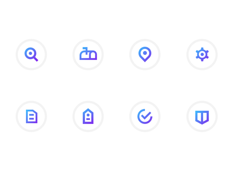 Flat website design - flat icons are completely 2D with no shadows