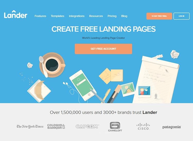 Flat website design - Lânderapp
