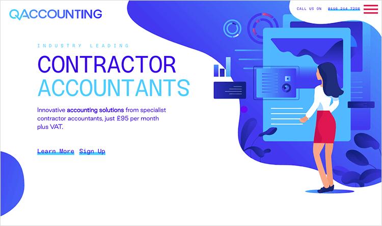Flat website design - QAccounting