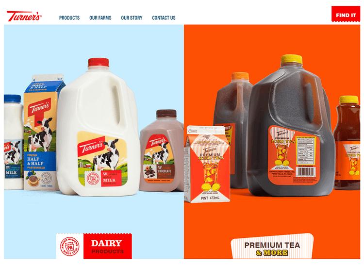 Flat website design - Turner's Dairy