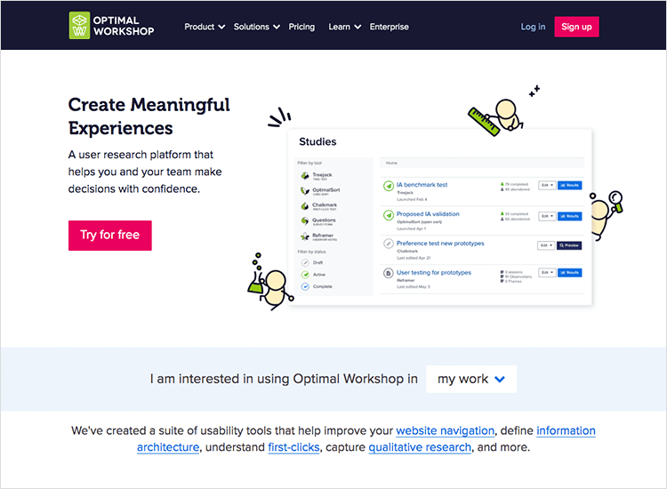 optimal workshop usability testing tool